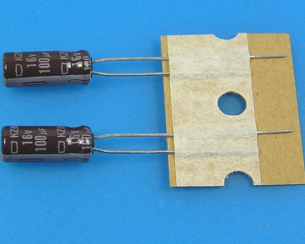 100uF/16V - 105°C Nippon KZM kondenzátor elektrolytický, low ESR, long life, high ripple current
