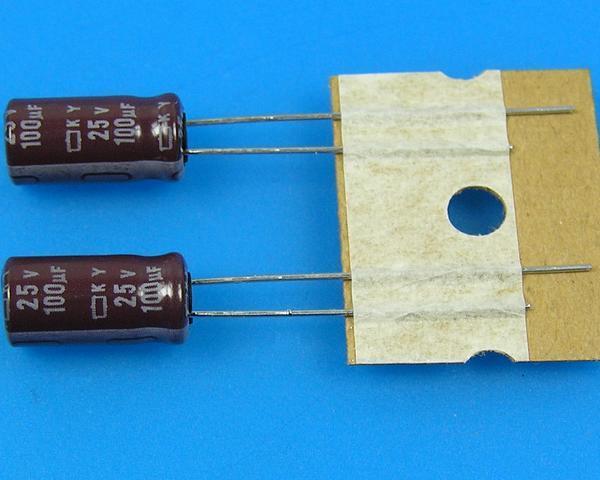 100uF/25V - 105°C Nippon KY kondenzátor elektrolytický, low ESR, long life
