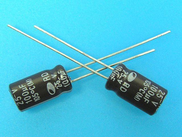 100uF/25V - 105°C Samwha RD kondenzátor elektrolytický
