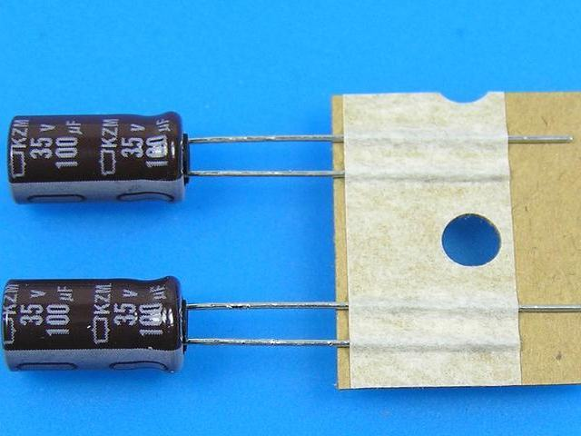 100uF/35V - 105°C Nippon KZM, kondenzátor elektrolytický, low ESR, long life, high ripple current
