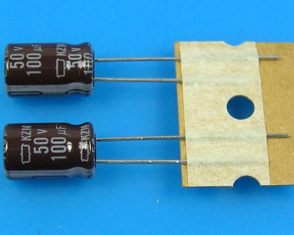 100uF/50V - 105°C Nippon KZM kondenzátor elektrolytický, low ESR, long life, high ripple current