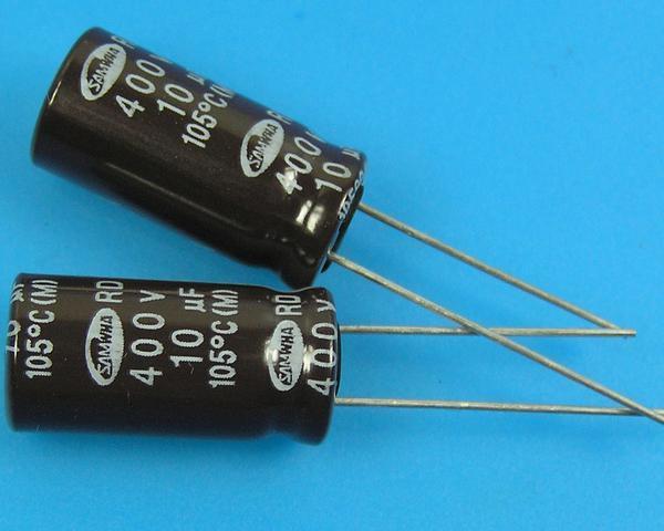 10uF/400V - 105°C Samwha RD kondenzátor elektrolytický
