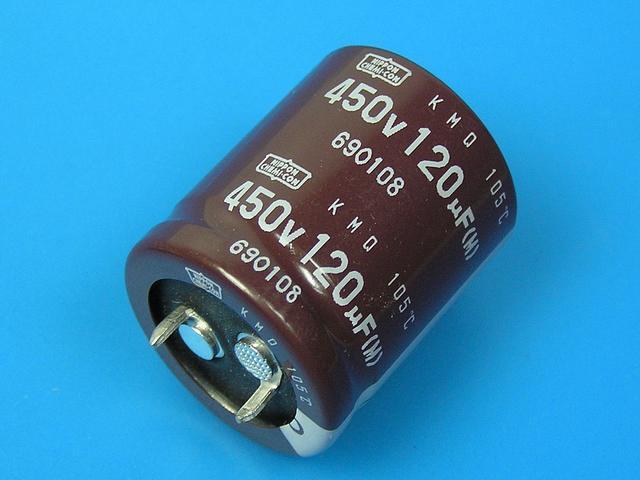 120uF/450V - 105°C Nippon KMQ kondenzátor elektrolytický