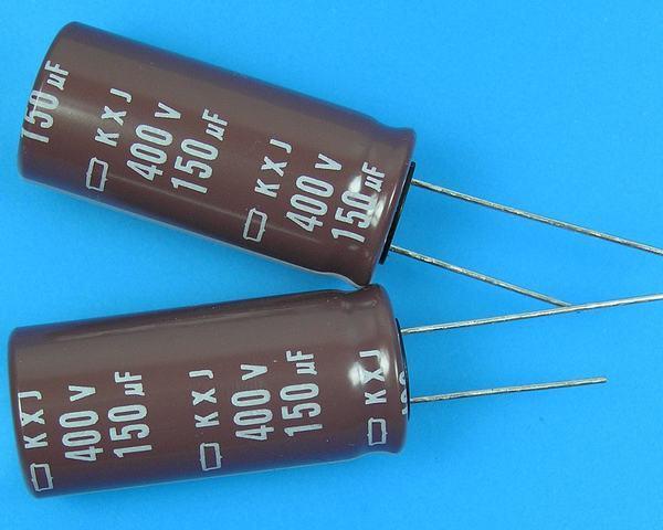 150uF/400V - 105°C Nippon KXJ kondenzátor elektrolytický low ESR, long life, high ripple current