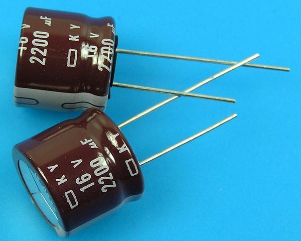 2200uF/16V - 105°C Nippon KY kondenzátor elektrolytický, low ESR, long life