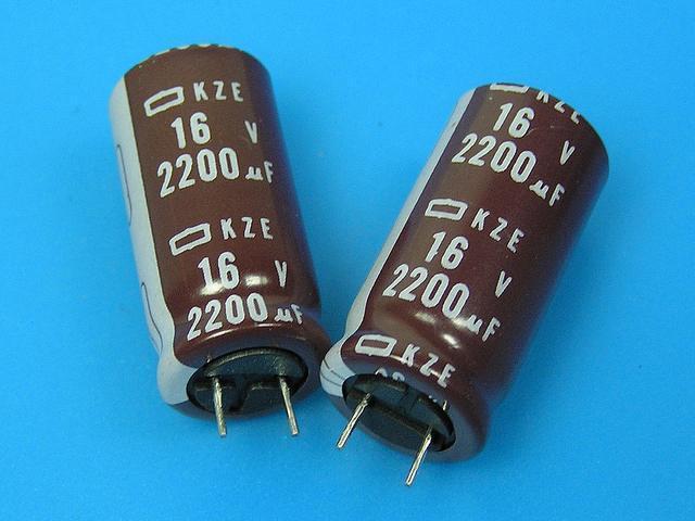 2200uF/16V - 105°C Nippon KZE kondenzátor elektrolytický, low ESR, long life