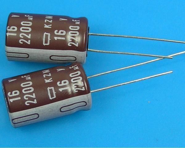 2200uF/16V - 105°C Nippon KZM kondenzátor elektrolytický, low ESR, long life, high ripple current