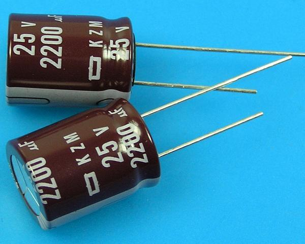 2200uF/25V - 105°C Nippon KZM kondenzátor elektrolytický, low ESR, long life, high ripple current