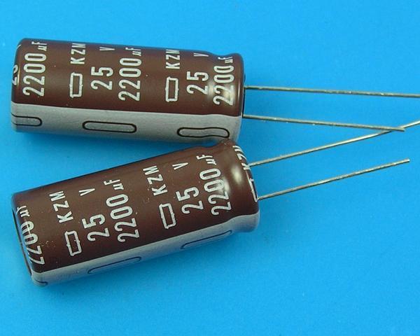 2200uF/25V - 105°C Nippon KZM kondenzátor elektrolytický, low ESR, long life, high ripple current