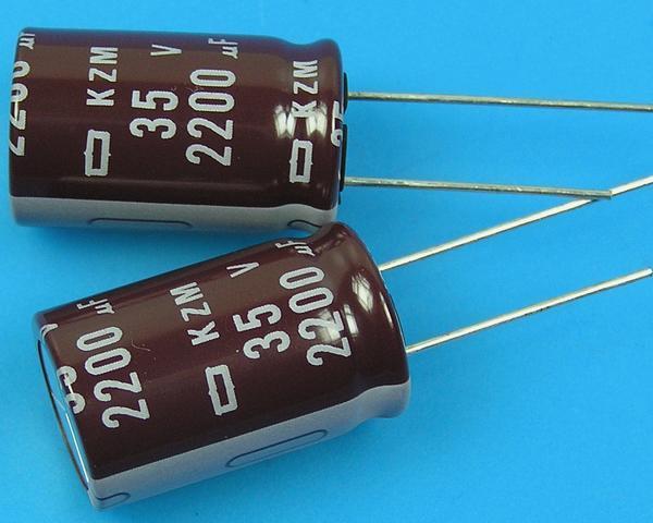 2200uF/35V - 105°C Nippon KZM kondenzátor elektrolytický, low ESR, long life, high ripple current