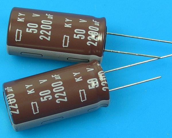 2200uF/50V - 105°C Nippon KY kondenzátor elektrolytický, low ESR, long life