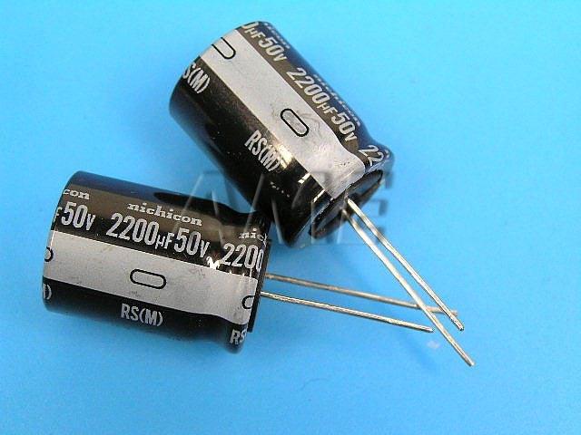 2200uF/50V - 85°C Nichicon RS kondenzátor elektrolytický