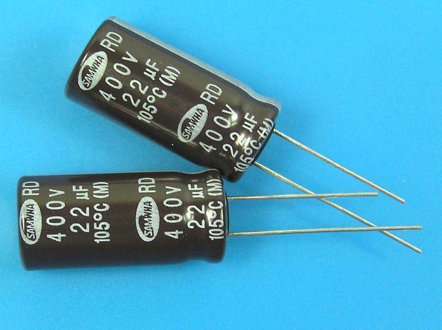 22uF/400V - 105°C Samwha RD kondenzátor elektrolytický