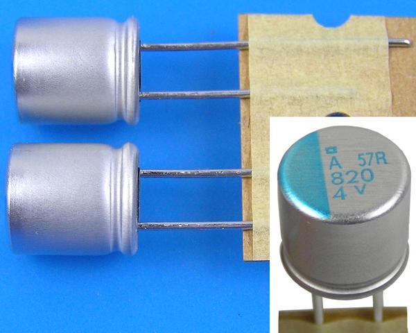 820uF/4V - 105°C Nippon PSA kondenzátor elektrolytický polymerový, super low ESR, high ripple current