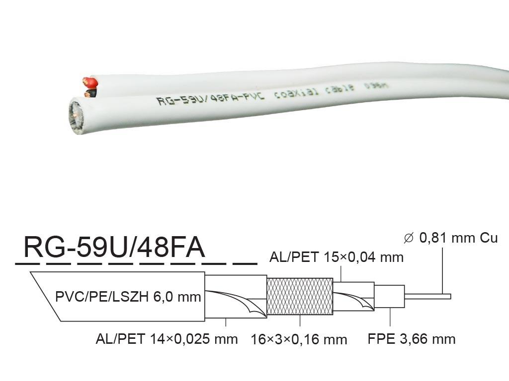 Kabel - metráž KOAX RG-59U/48FA 2x0,75mm koaxiální kabel 75 Ohm KK31V