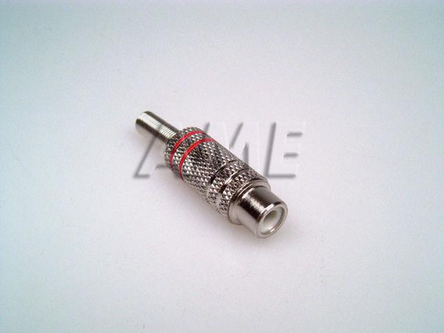 Konektor CINCH kovový - kabelová samička - rudá