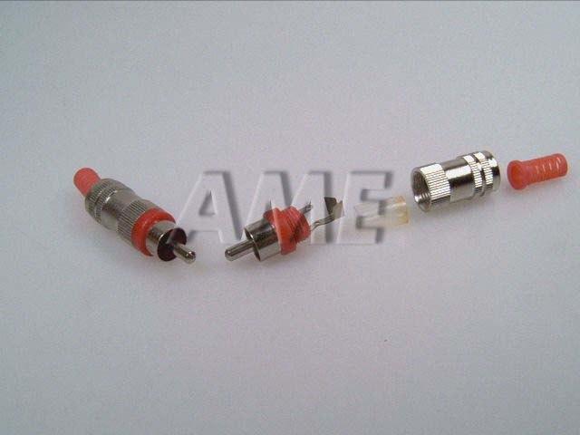 Konektor CINCH kovový stříbrný - rudý