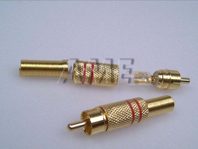 Konektor CINCH kovový zlatý - rudý