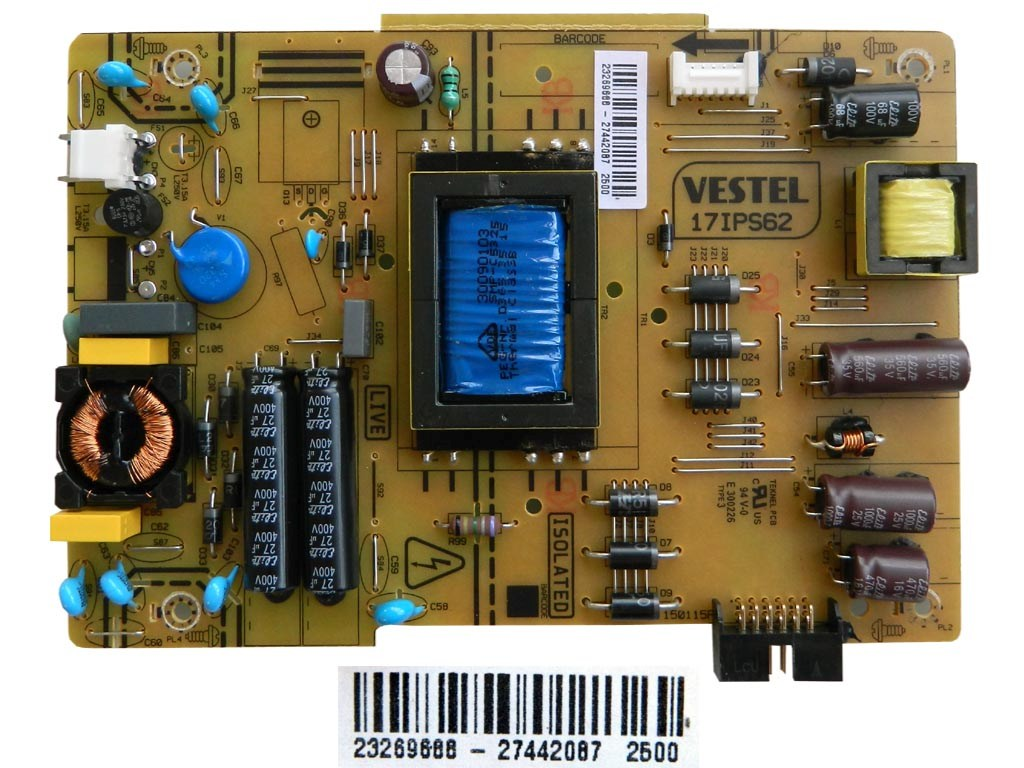 LCD LED modul zdroj 23269688 / SMPS power supply board 17IPS62 VESTEL