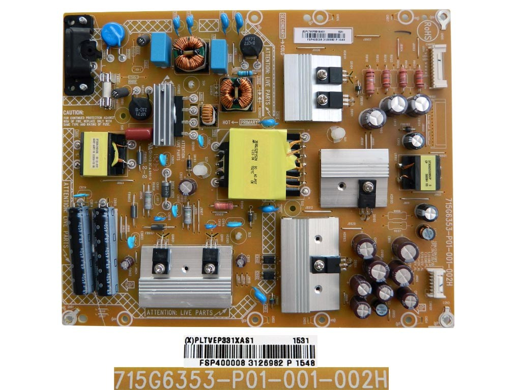 LCD LED modul zdroj PLTVEP331XAS1 / SMPS power supply board 715G6353-P01-001-002H