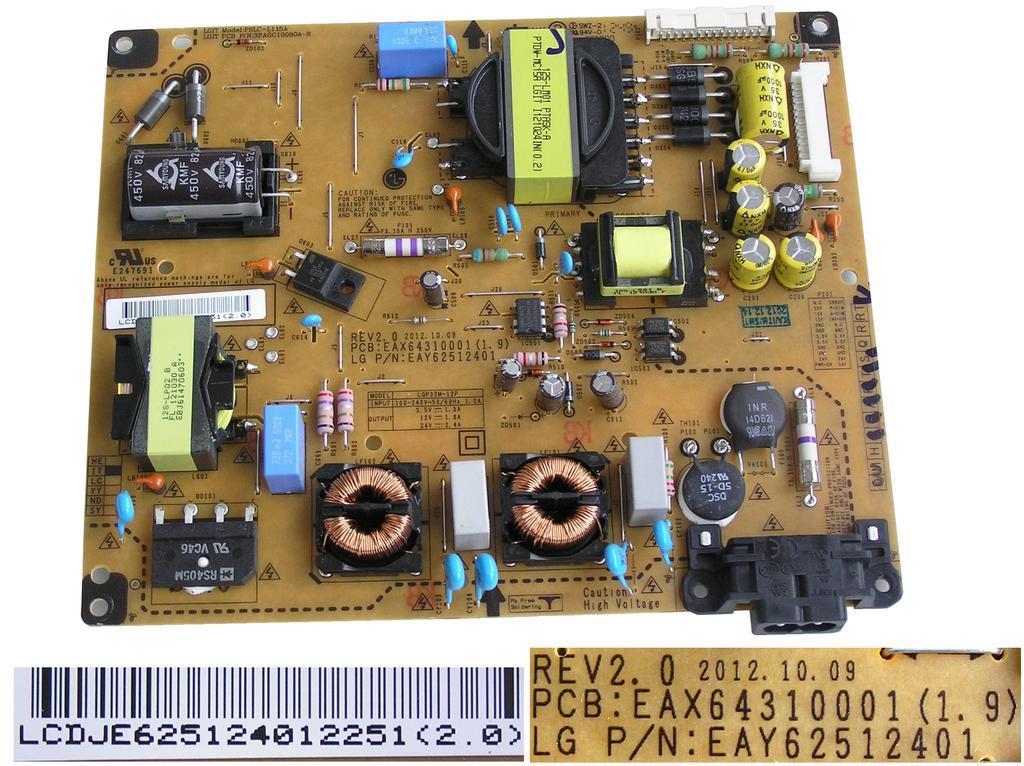 LCD modul zdroj EAY62512401 / SMPS POWER SUPPLY BOARD EAY62512401 / LGP32M-12P