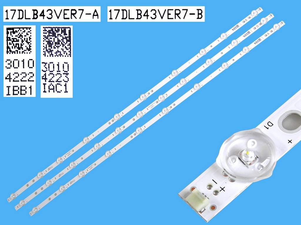 LED podsvit 428mm, 5LED / DLED Backlight 428mm - 5 D-LED, Grundig 759551878600 / ZCC606 / ARC40_3228N1