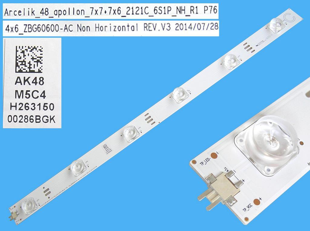 LED podsvit 437mm, 6LED / DLED Backlight 437mm - 6 D-LED, Grundig 759551878100 / ZBG60600-AC