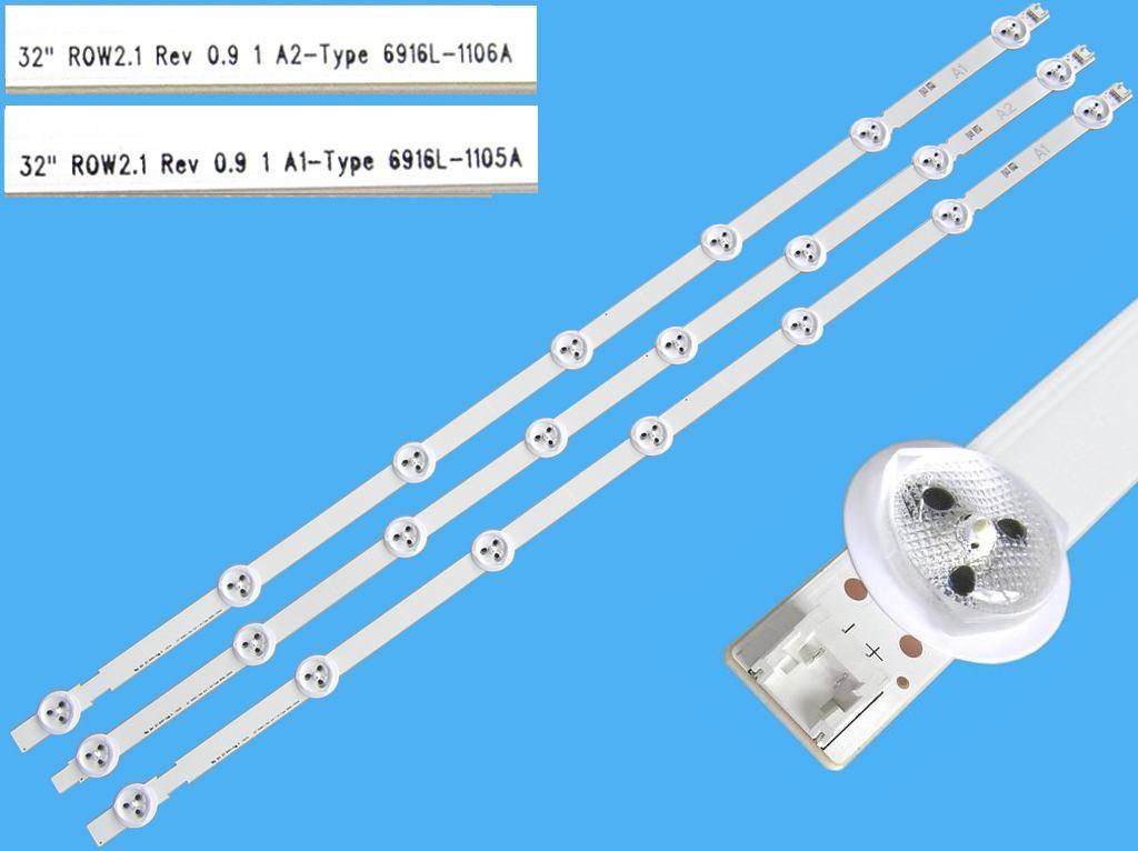 LED podsvit sada LG AGF78399201 celkem 3 pásky 630mm / DLED TOTAL ARRAY AGF78399201 / 6916L-1105A + 6916L-1106A