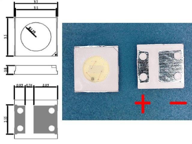 LED podsvit samostatná dioda 3V 3535 / 3537 UNI