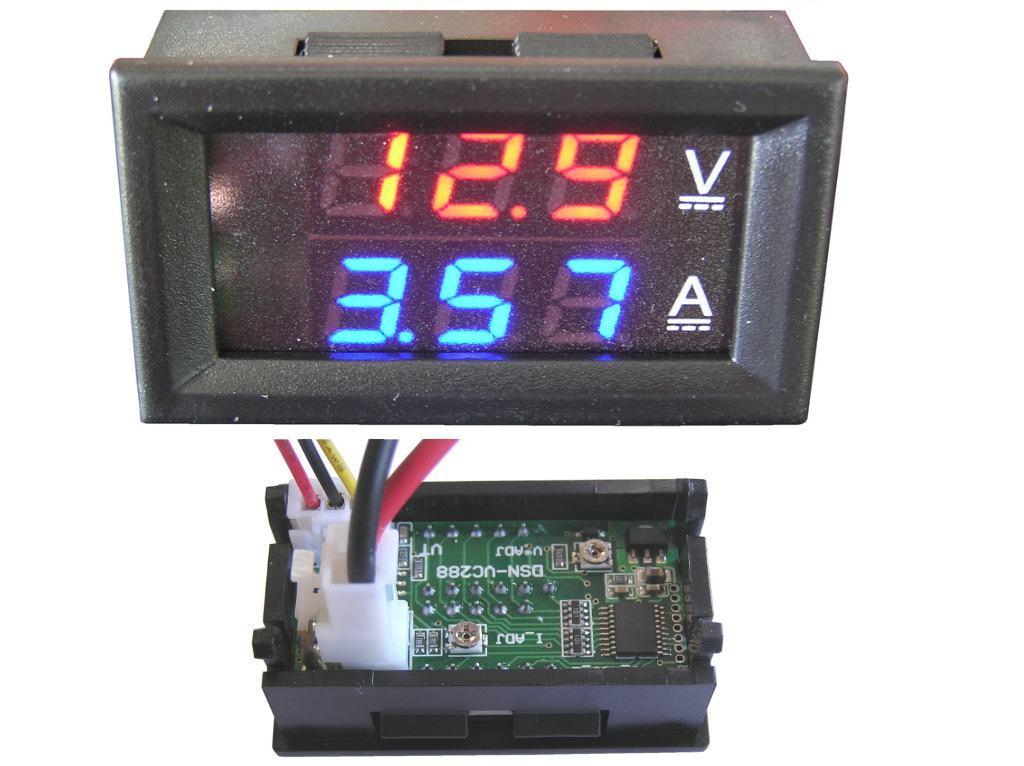 Měřidlo digitální panelové sdružené 0 - 100V, 0-10A, napájecí napětí 5 - 30V