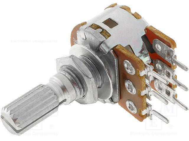 Potenciometr stereo otočný 10k / A č.22 logaritmický, drážkovaná hřídel 6 x 13.5mm R16110G