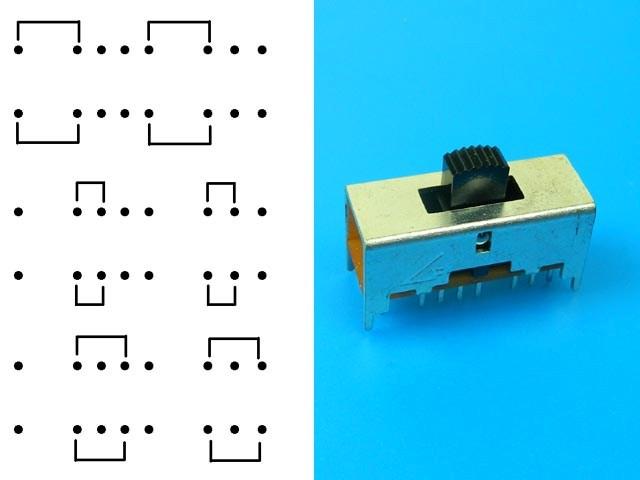 Přepínač 3 polohový 2 x 8pin RSS3D002B