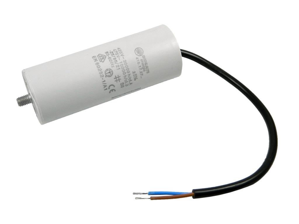 Rozběhový kondenzátor 10uF 400V / 450V TC886HS na kabel, motorový kondenzátor