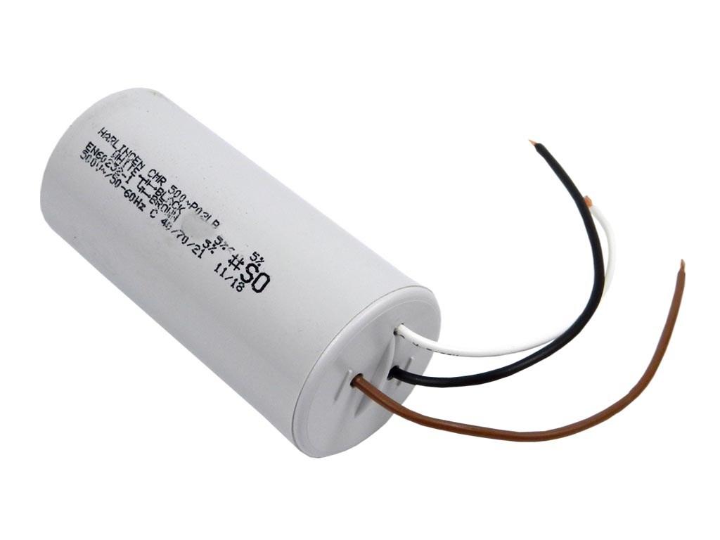Rozběhový kondenzátor dvojtý 22uF / 6uF 450V s drátovými vývody, motorový kondenzátor