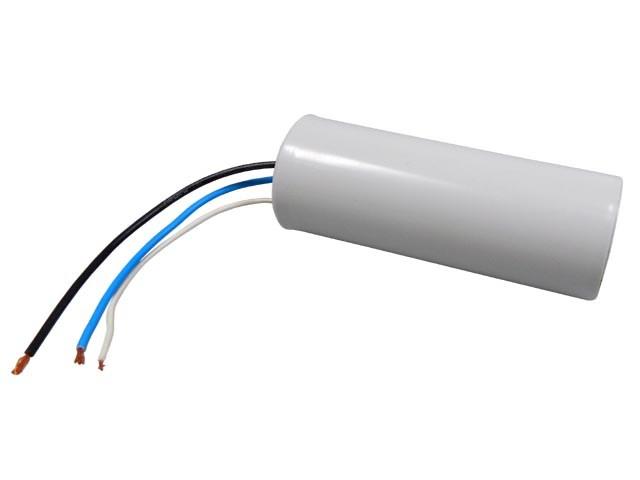 Rozběhový kondenzátor dvojtý 34uF / 8uF 450V s drátovými vývody, motorový kondenzátor
