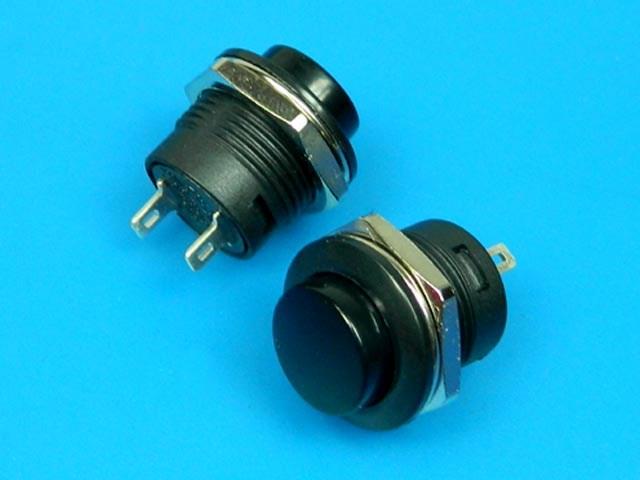 Tlačítko spínač kulatý černý PS507A-BB