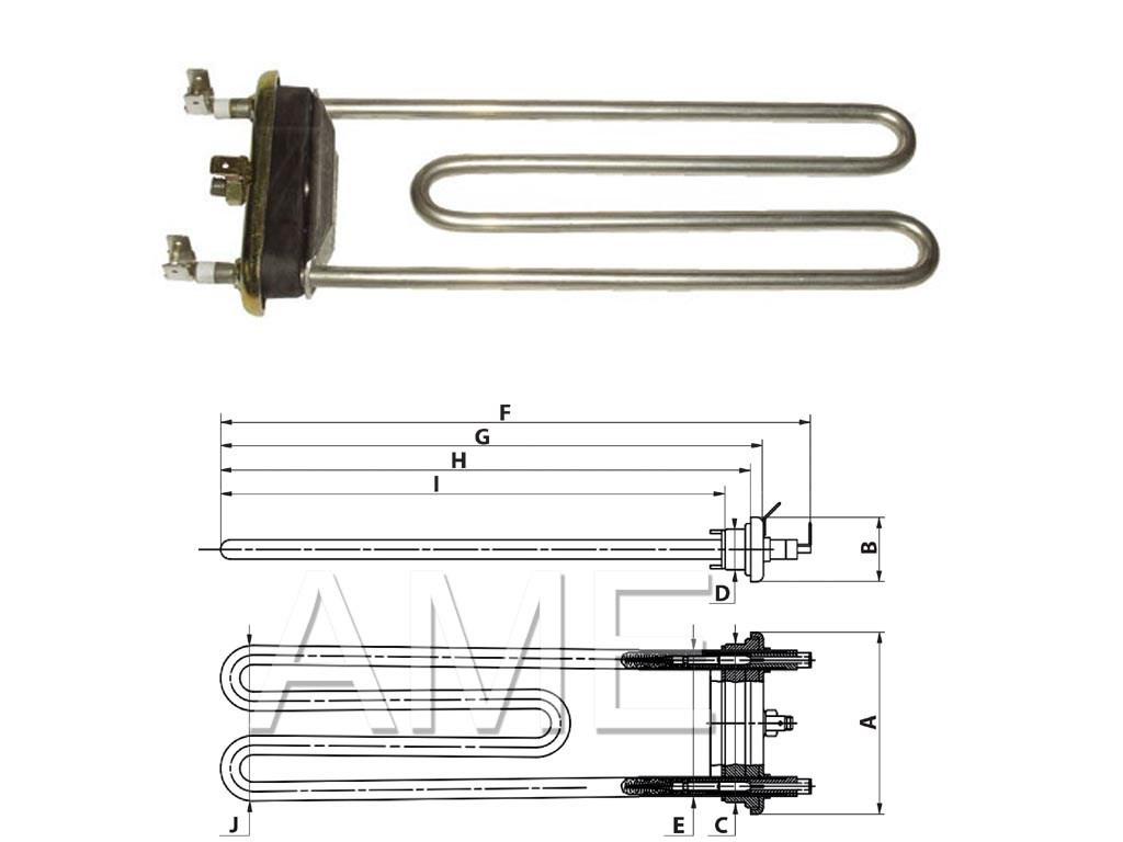 Topné těleso pračky LF420/540 Aspes,Fagor,Whirlpool