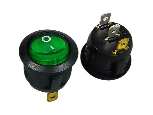 Vypínač kolébkový kulatý SCI R13112B02BG2N2 zelený ON-OFF