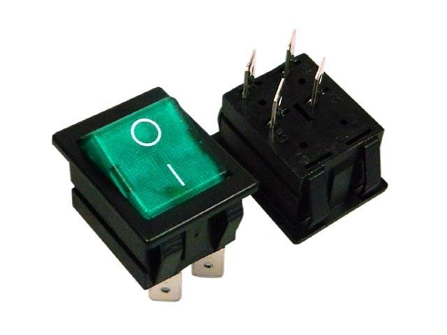 Vypínač kolébkový velký ARCOLECTRIC C1553ALNAA černý ON-OFF - zelený podsvícení