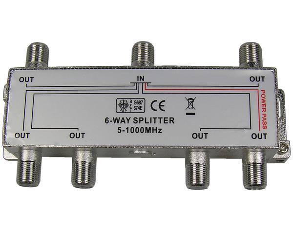 anténní rozbočovač TV s 6 výstupy 1xDC pass RO12