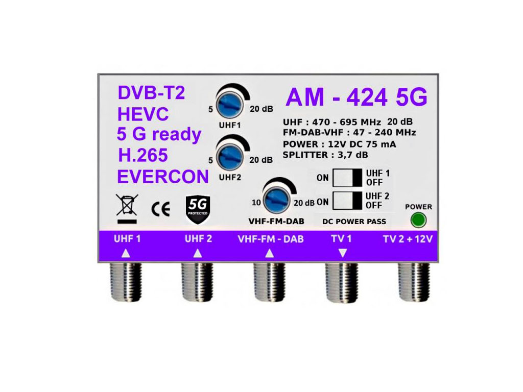 anténní zesilovač linkový AMP-022 22dB pro DVB-T