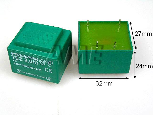transformátor síťový do plošného spoje 230 / 15V - 2VA