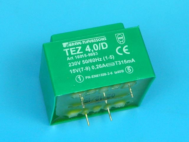 transformátor síťový do plošného spoje 230 / 15V - 4VA