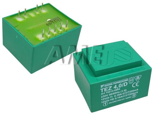 transformátor síťový do plošného spoje 230 / 2x12V - 4VA