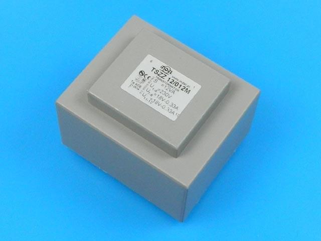 transformátor síťový do plošného spoje 230 / 2x18V - 12VA INDEL TSZZ12/012M