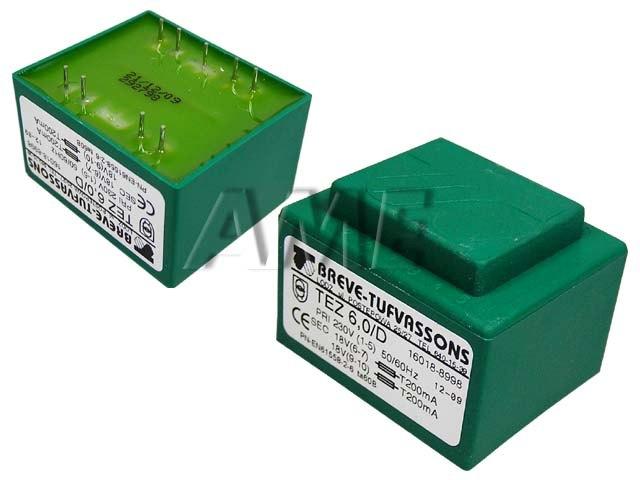 transformátor síťový do plošného spoje 230 / 2x18V - 6VA