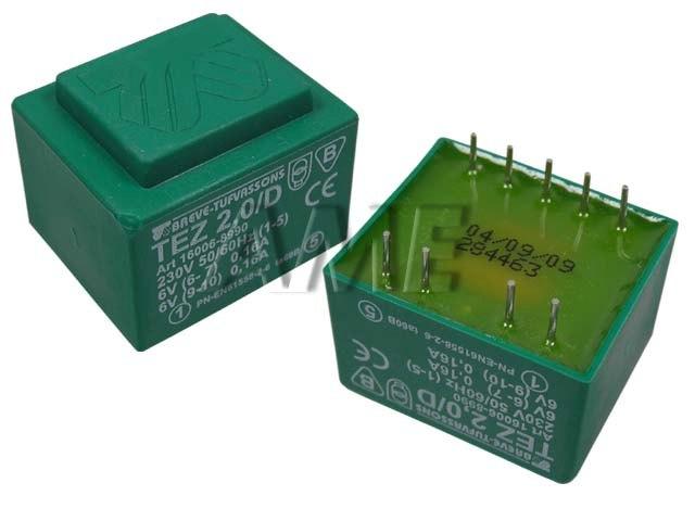 transformátor síťový do plošného spoje 230 / 2x6V - 2VA
