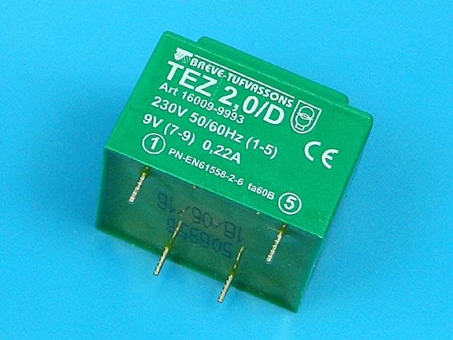transformátor síťový do plošného spoje 230 / 9V - 2VA