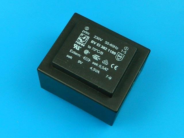 transformátor síťový do plošného spoje 230 / 9V - 4,5VA HAHN BVEI3821189