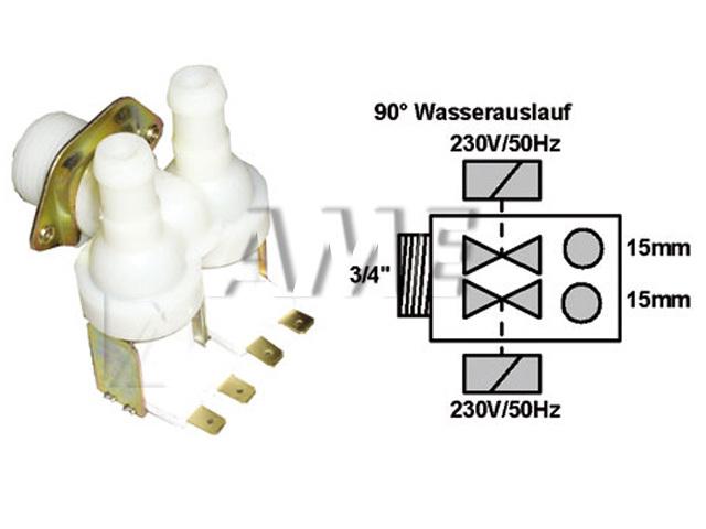 ventil napouštěcí univerzální 2xcestný (90 st.) 2